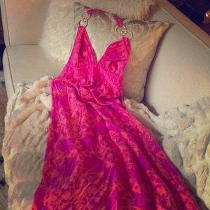 Vibrant silk maxi dress